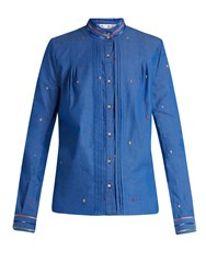 Thierry Colson Peggy Leaf Embroidered Cotton Shirt Blue Multi