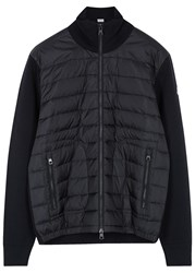 Moncler Navy Shell And Wool Blend Jacket