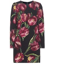 Dolce And Gabbana Printed Wool Dress Multicoloured