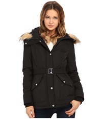 Jessica Simpson Belted Polybonded With Faux Fur Black Women's Coat