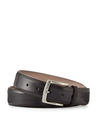 Magnanni Square Buckle Calf Leather Belt Gray