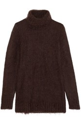 Michael Kors Collection Mohair And Wool Blend Turtleneck Sweater Chocolate