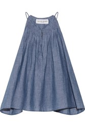 Apiece Apart Galisteo Smocked Cotton Chambray Top Blue