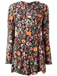 Red Valentino Floral Print Playsuit Black