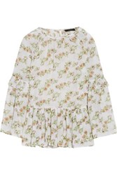 W118 By Walter Baker Ruffled Floral Print Crepe De Chine Top Ivory