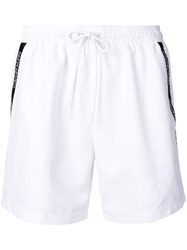 Calvin Klein Logo Swim Shorts White