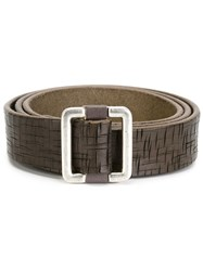 Eleventy Textured Leather Belt Brown
