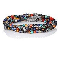 M Cohen M. Men's Bead And Skull Charm Wrap Bracelet No Color