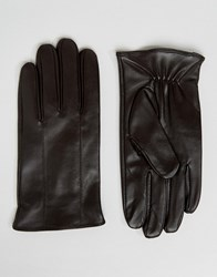 Barney's Barneys Leather Gloves In Brown