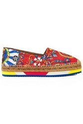 Dolce And Gabbana Woman Printed Jacquard Espadrilles Brick