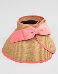 Liquorish Vintage Style Straw Visor With Bow Detail At Back Natural Watermelon Beige