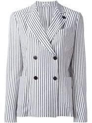 Lardini Striped Knit Blazer White