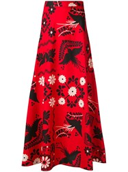 Red Valentino Printed Maxi Skirt Red