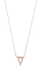 Tai Pave Open Triangle Necklace Rose Gold Clear