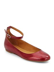 Etoile Isabel Marant Embossed Leather Ankle Strap Flats Red