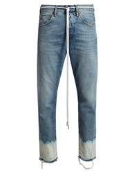 Off White Frayed Hem Mid Rise Cropped Jeans Light Blue