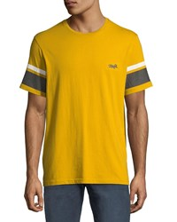 Ovadia And Sons Striped Sleeve Graphic T Shirt Gold