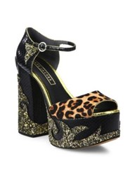 Marc Jacobs Dolls Adriana Calf Hair And Leather Platform Pumps Black Multi