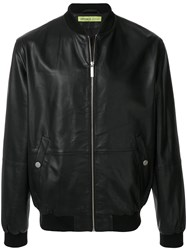 Versace Jeans Leather Bomber Jacket Black