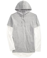 American Rag Men's Colorblocked Long Sleeve Hooded T Shirt Only At Macy's Cloudy Grey