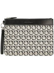 Salvatore Ferragamo Monogram Print Clutch Black