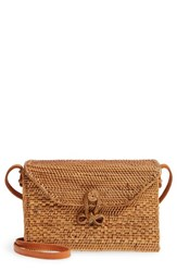Street Level Woven Rattan Box Crossbody Bag Brown