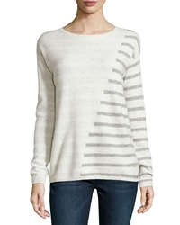 Neiman Marcus Cashmere Intarsia Striped Sweater Ivory Gray