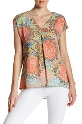 Spense Printed Cap Sleeve Blouse Multi