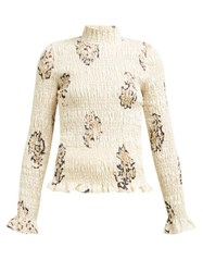 Sir Aster Shirred Abstract Print Linen Top White Print