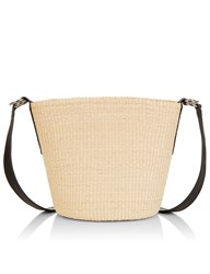 Sensi Studio Natural Straw Cross Body Bag White