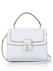 Dolce And Gabbana Greta Medium Textured Leather Tote Light Blue