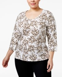 Karen Scott Plus Size Printed Top Only At Macy's Brown Clay