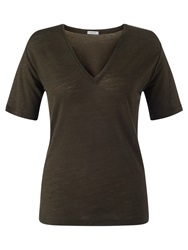 Jigsaw Wool Mix V Neck T Shirt Dark Khaki