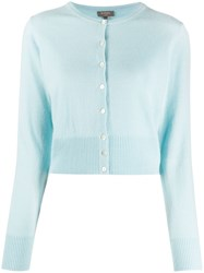 N.Peal Cropped Cashmere Cardigan Blue