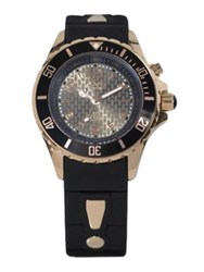Kyboe Power Black Silicone And Rose Goldtone Stainless Steel Strap Watch 40Mm Black Gold