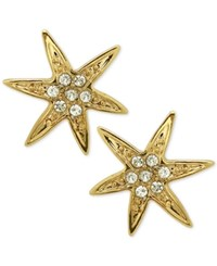 Nina Gold Tone Swarovski Crystal Pave Starfish Stud Earrings