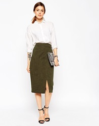 Asos Premium A Line Wrap Skirt With Pocket Detail Khaki