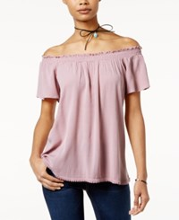 Self Esteem Juniors' Off The Shoulder Peasant Top With Necklace Zephyr Pink