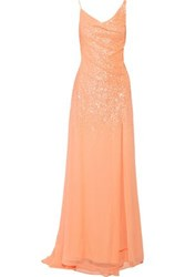 Halston Draped Sequinned Georgette Gown Peach