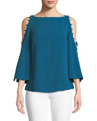Trina Turk Amor Top W Button Shoulders Teal