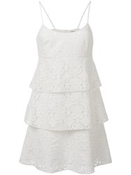 Pascal Millet Tiered Dress Women Silk Cotton Polyester 36 White
