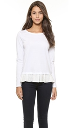 Clu Too Ruffled Top White White