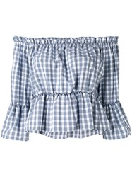 Dondup Off Shoulder Checked Top Grey