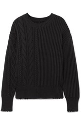Rta Gunnar Distressed Cable Knit Cotton Blend Sweater Black