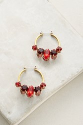 Anthropologie Red Crystal Hoop Earrings
