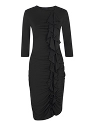 Hotsquash Long Sleeved Dress With Frill Detail Black
