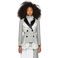 Sacai Grey Double Breasted Melton Ma 1 Coat