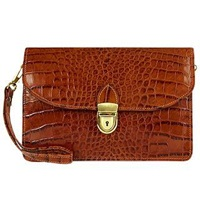 L.A.P.A. Cognac Croco Embossed Leather Clutch