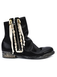 Mihara Yasuhiro Lace Detail Ankle Boots Black
