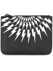 Neil Barrett 'Thunder' Zip Coin Pouch Black